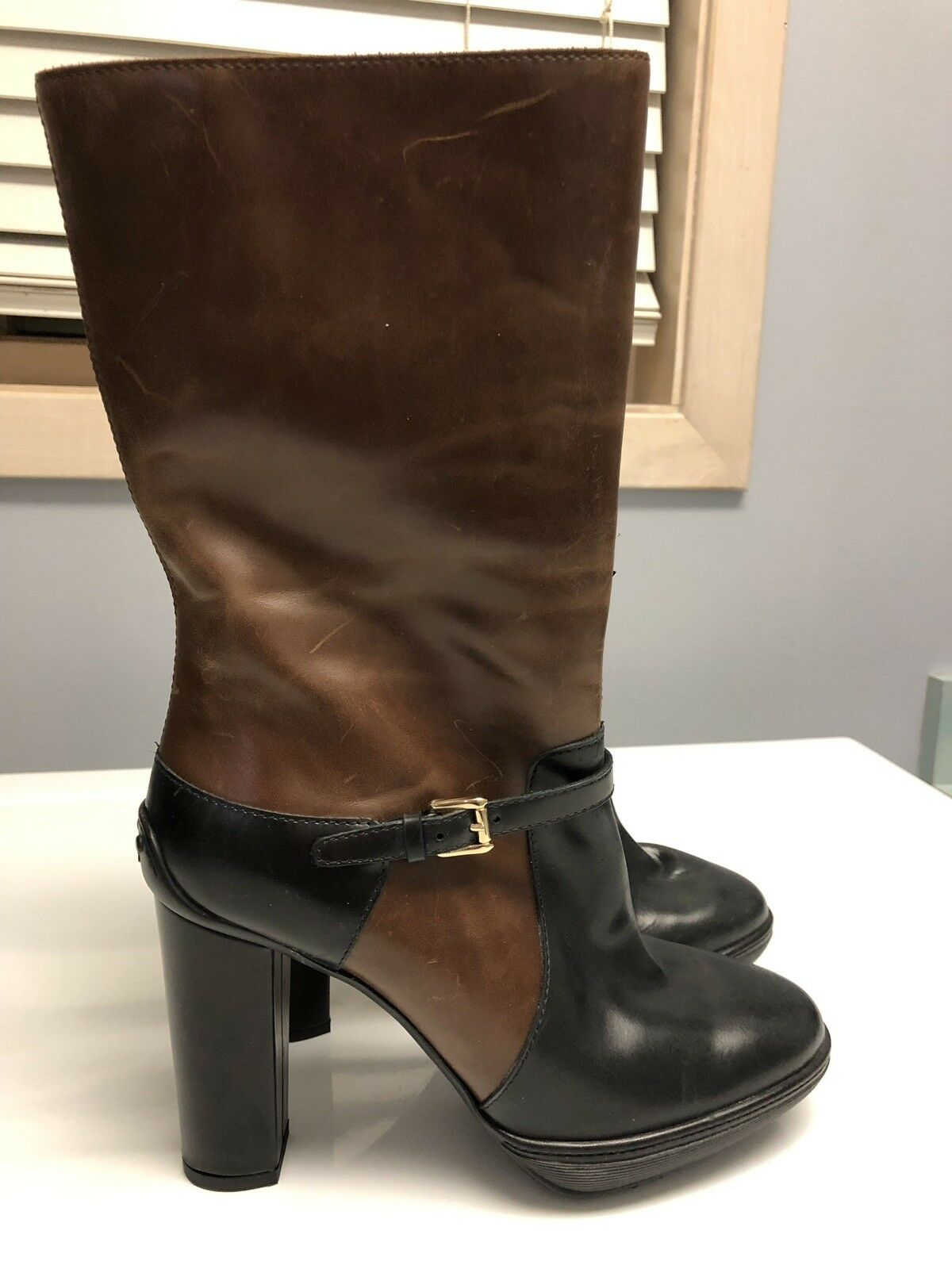 1095 Tod's Mid Calf Platform Boots Boots Boots Brown black Leather Women Sz 36.5 New 898ac4