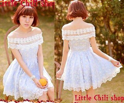 Kawaii Princess Cute Sweet Dolly Lolita Lace Cape Sleeve off-shoulder Dress Blue