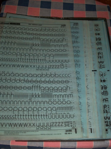 NOS Letraset Lettering 10 x 15 Sheet Various Fonts Sizes  Use Drop-Down Box s
