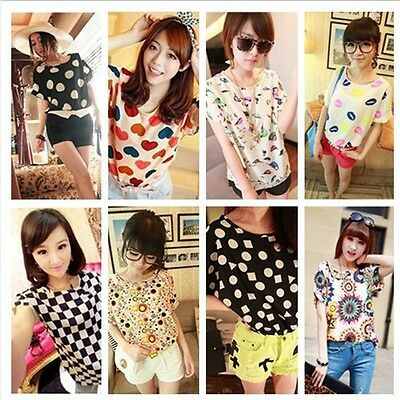 Womens Colorful Casual Chiffon Batwing Loose Blouse T-Shirt Tops Summer 3 Sizes
