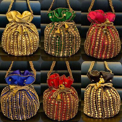 Umile Bollywood Celebrity Style Oro Potli Bridal Clutch Bags Matrimonio Indiano Accessorio-mostra Il Titolo Originale Fabbriche E Miniere