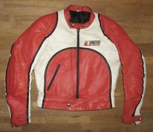 """"""" DRESS """" Herren- Motorrad- Lederjacke / Kombi- Jacke in rot- weiss Gr. 48"""