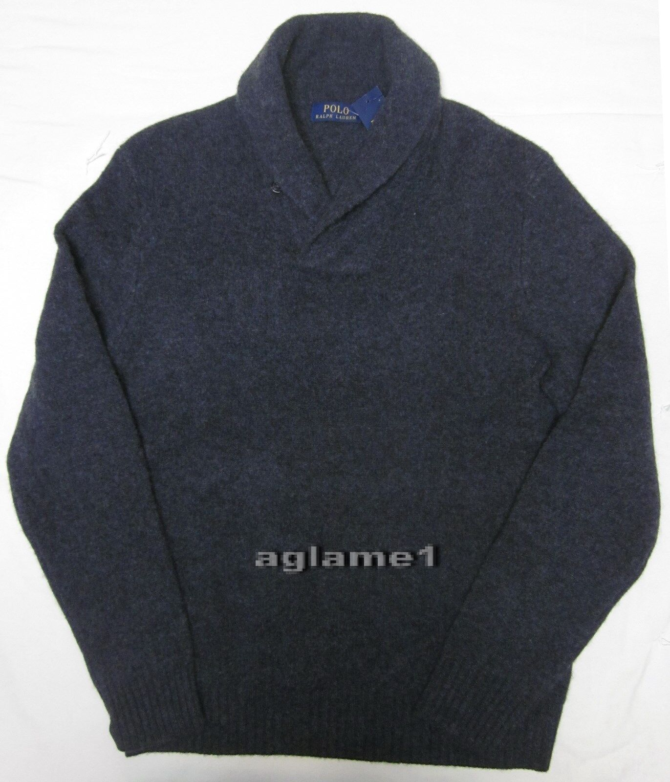 NWT Polo Ralph Lauren cashmere wool shawl sweater  Dark grau M Italian Yarn