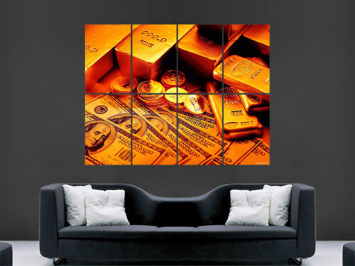 MONEY GOLD BARS COINS POSTER DOLLAR NOTES LARGE WALL ART