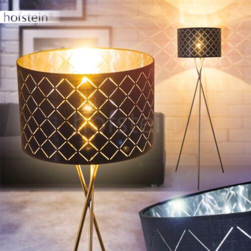 Moderne Schlaf Wohn Zimmer Stand Boden Leuchten Stehlampe Stoff Schwarz//Silber