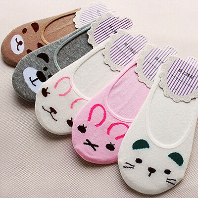 Women Cotton Socks No Show Nonslip Loafer Liner Low Cut Cartoon Animal Funky New