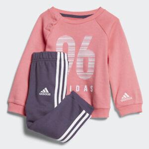 Adidas Infant Girls Sports Crew Terry Jogger Tracksuit Kids Children Set CW3831