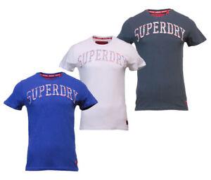 Superdry-Mens-New-Varsity-Embossed-Short-Sleeve-T-Shirt-Navy-Blue-White