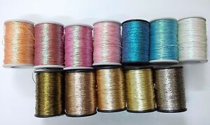SET LOT 12-Cotton Lurex Zari Jari Sparkle Shiny Thread Cord Dori Crochet Jewelry