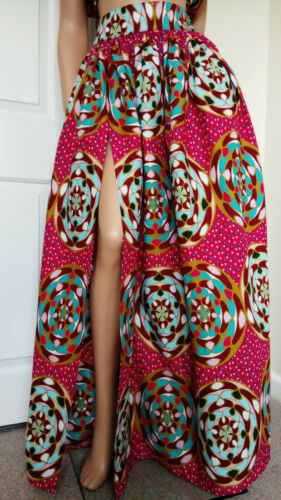 /'Candy/' African Print Front Split Full Length//Maxi Skirt 100/% Wax Cotton  UK