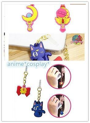 CUTE Sailor Moon Cos Accessory for iPhone HTC SAMSUNG Cellphone 3.5 mm Dust Plug
