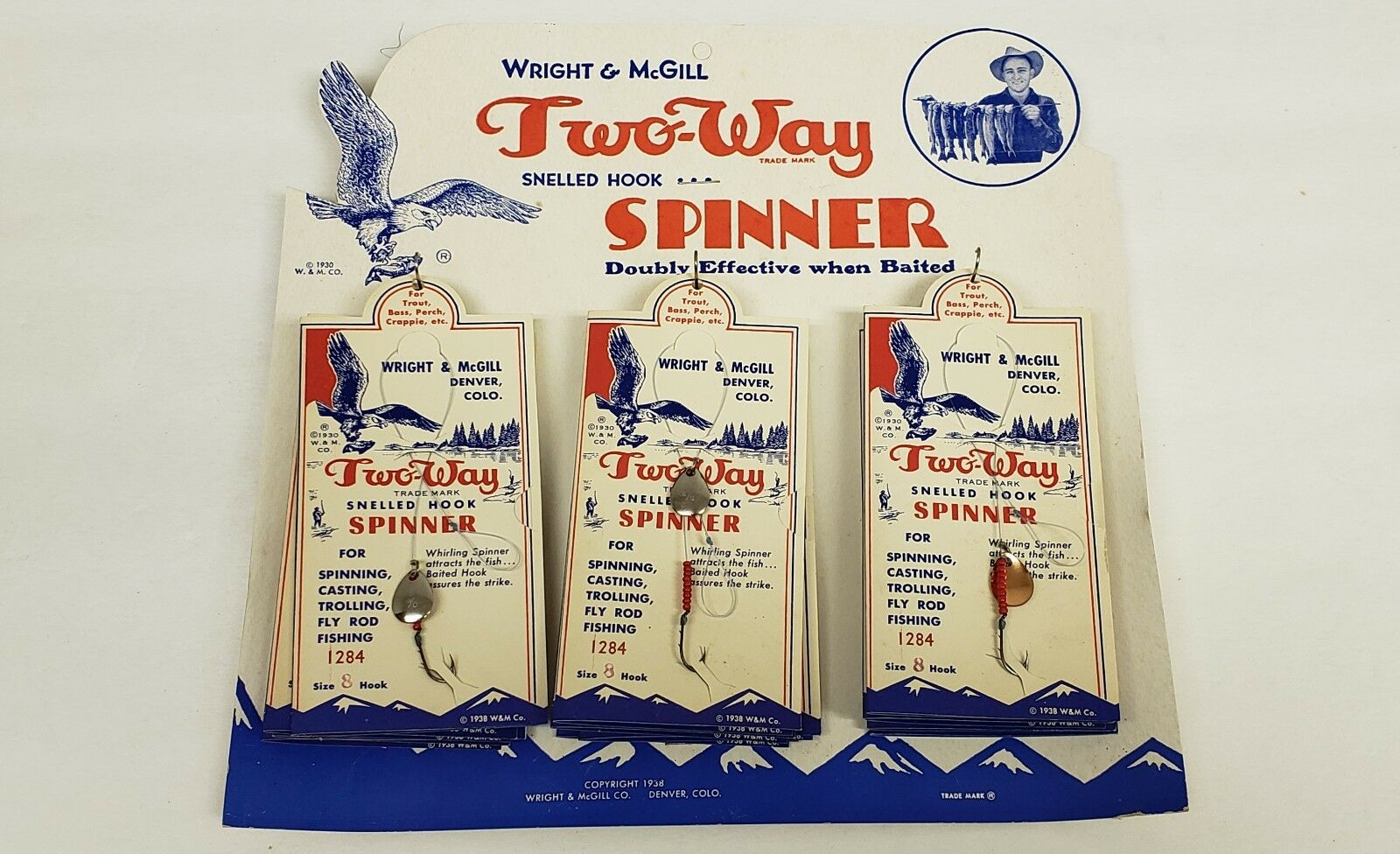Vintage Wright & McGill Two Way Spinners Dealer Display  C1950  free shipping