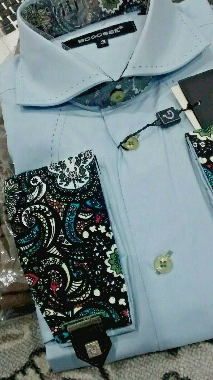 NWT Bogosse men's size 3(medium) long sleeve button down shirt,floral cuffs&coll