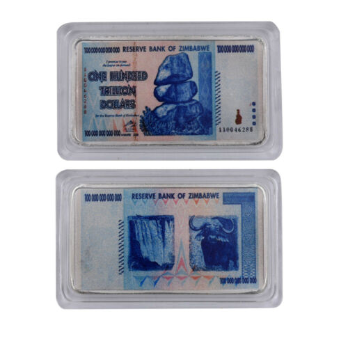 One Hundred Trillion Dollar Zimbabwe Banknote Gifts 999.9 Silver Plated Bar