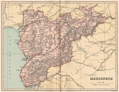 Merionethshire Wales 1893 Old Plan Chart Antique County Map