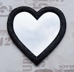 Muebles Antiguos Y Decoración Logical Espejo De Pared Corazón Forma Barroca Negro Regalo Amor Nuevo 88 Arte Y Antigüedades