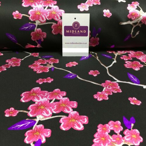 Lámina Con Estampado Floral De Tela De Buceo 150cm MH1338