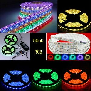 1-20M RGB 5050 Waterproof LED Light Strip Flexible Car Lamp IR Remote 12V Power