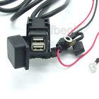Motorcycle Waterproof Mobile GPS Power Charger Supply Port Dual Black USB Socket