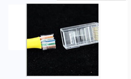 50PCS//LOT Hi-Quality Crystal CAT6 RJ45 Plug Network Connector-Two parts
