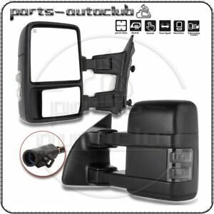 For 1999-2007 Ford F250 Super Duty Tow Mirror Power Heated SMOKE Turn Signal