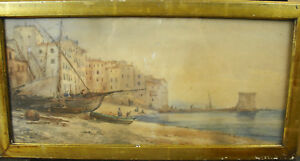 Jules-Hippolyte-RAVEL-acquerello-XIX-nave-spiaggia-di-Corsica-Bastia-Ajaccio
