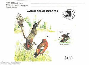 1988-New-Zealand-Birds-MS-Stamp-Expo-89-MUH