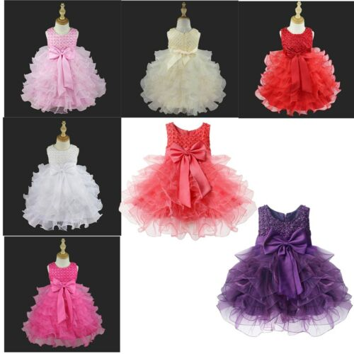 US Baby Girls Flower Tutu Dress Wedding Pageant Princess Communion Party Dresses