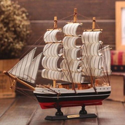 1PC Vintage Wooden Sailboat Ship Model Wood Sailing Boat Handmade Home Decor