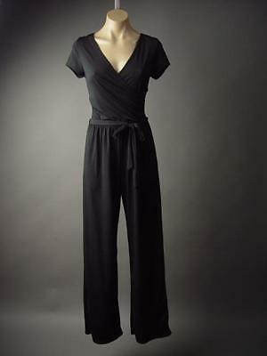 Black Work Office Surplice Crossover Faux Wrap Dress Pants 179 mv Jumpsuit S M L
