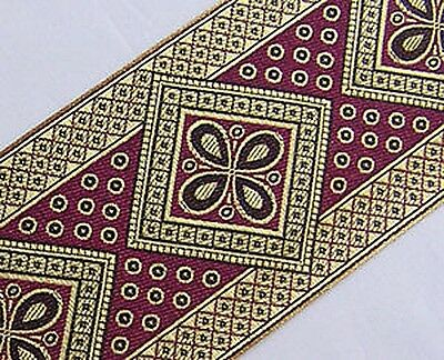 Very Wide, Jacquard Trim. Metallic Gold & Fuchsia