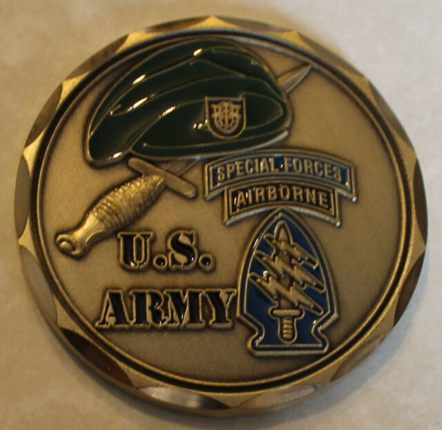 Special Forces AIRBORNE Army Green Beret Challenge Coin     C V2