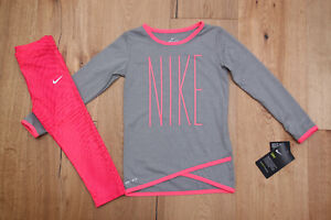 eff899448d Details about Nike Toddler Girl Long Sleeve Shirt and Leggings Set ~  Dri-Fit ~ Pink & Gray
