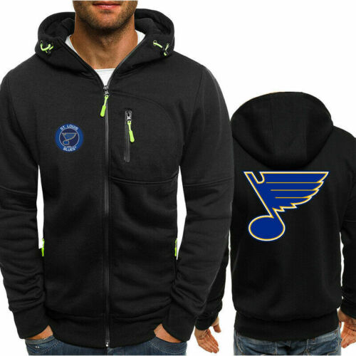 New St Louis Blues Fans Hoodie Hooded Full-zip Jacket Sweatshirt Warm Coat Top