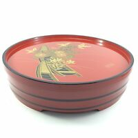 Antique Vintage Japanese Divided Dessert Bento DISH PLATE RED Wood LACQUER Ware