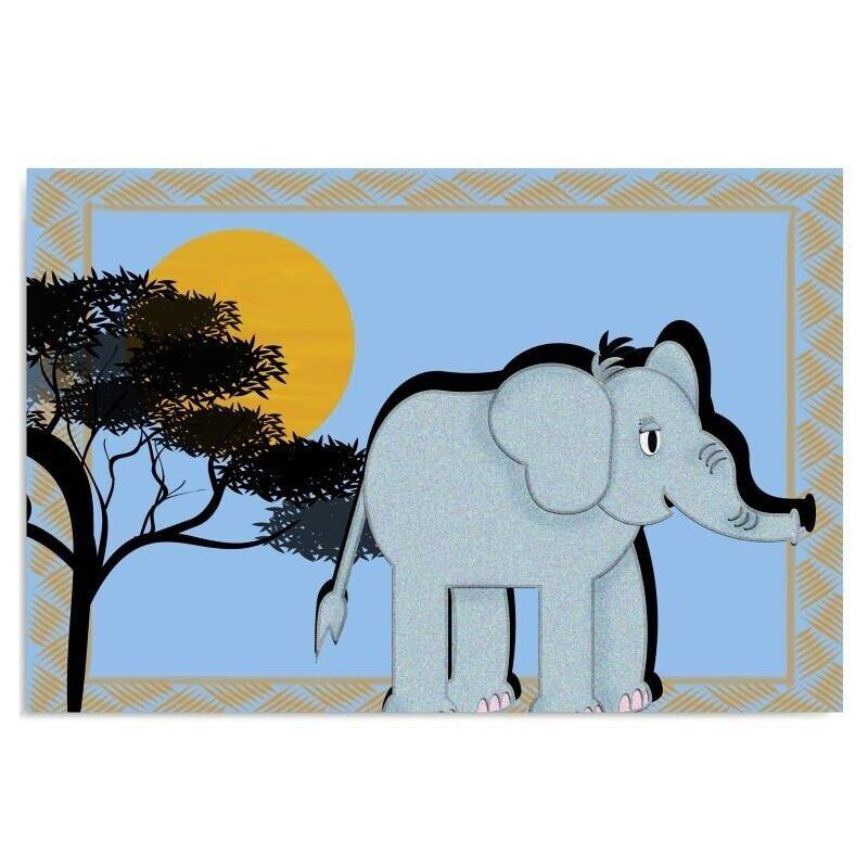 Feeby Leinwandbild Druckbild moderne Wanddekoration für Kinder Elefant Afrika