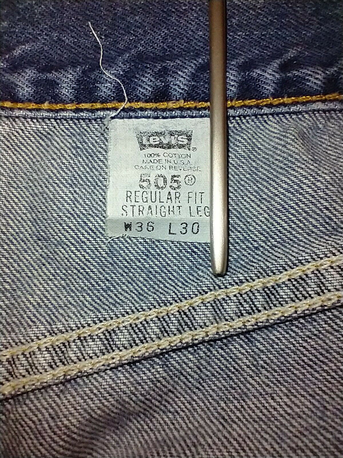 Levi's 505 Jean's Made in the USA Men's size 36x3… - image 10