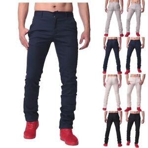 Men-039-s-Cotton-Chino-Straight-Leg-Long-Pants-Casual-Formal-Business-Work-Trousers