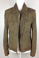 Elie Tahari Lamb Leather Jacket Soft Suede Coat Full Zip Collar Military Green