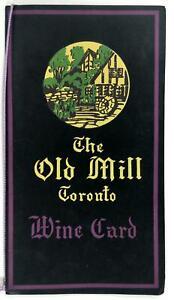 Vintage Wine List Card Menu THE OLD MILL Restaurant Toronto Ontario Canada