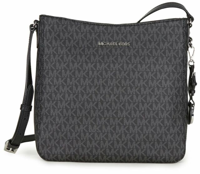 a4ff93506603 BRAND NEW MICHAEL KORS SIGNATURE JET SET LARGE BLACK MESSENGER CROSSBODY BAG