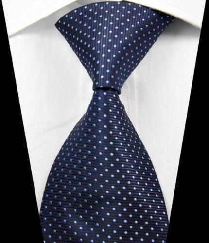 Hot Classic Pattern Dots Dark Blue JACQUARD WOVEN 100/% Silk Men/'s Tie Necktie