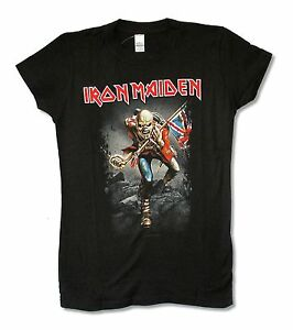 Iron Maiden The Trooper Girls Juniors Black T Shirt Heavy Metal Band Music