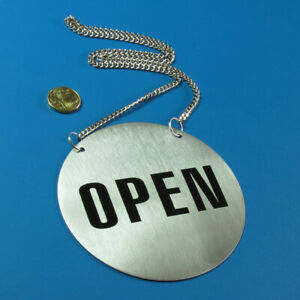 Stainless-Steel-Door-Sign-Open-and-Closed-130-mm-With-Hanging-Chain