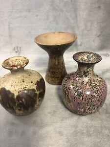 Unidentified-Vintage-Studio-Art-Pottery-Vase-Signed-Stoneware-Lot-Of-3-Bud-Vases