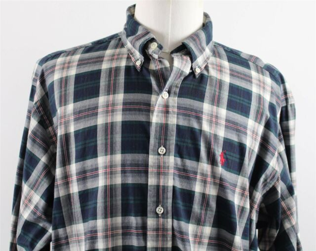 95578be01 Ralph Lauren Polo Mens Long Sleeve Shirt Navy Blue Blake 100 Cotton ...