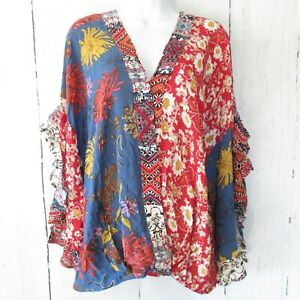 New-Umgee-Top-S-Small-Red-Blue-Mixed-Floral-Scallop-Sleeve-Boho-Peasant