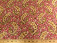 "Hot Pink/Yellow/Green Paisley Allover Print 100% Cotton Fabric 58"" W BTY"