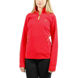 Women-039-s-PUMA-Golf-1-4-Zip-Pullover-Shirt-Red-with-Green-size-M-T44-85