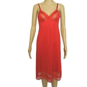 Vintage-Vanity-Fair-Full-Slip-32-L-Red-1970s-Lingerie-Nylon-Wide-Lace-Hem-Womens